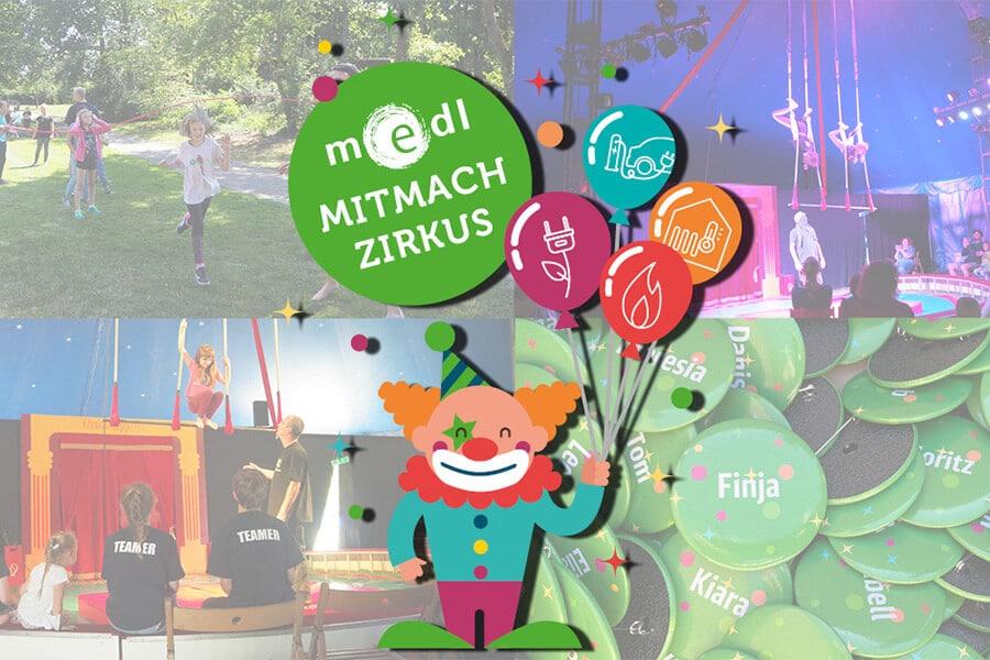 Bilder vom medl-Mitmach-Zirkus plus Logo